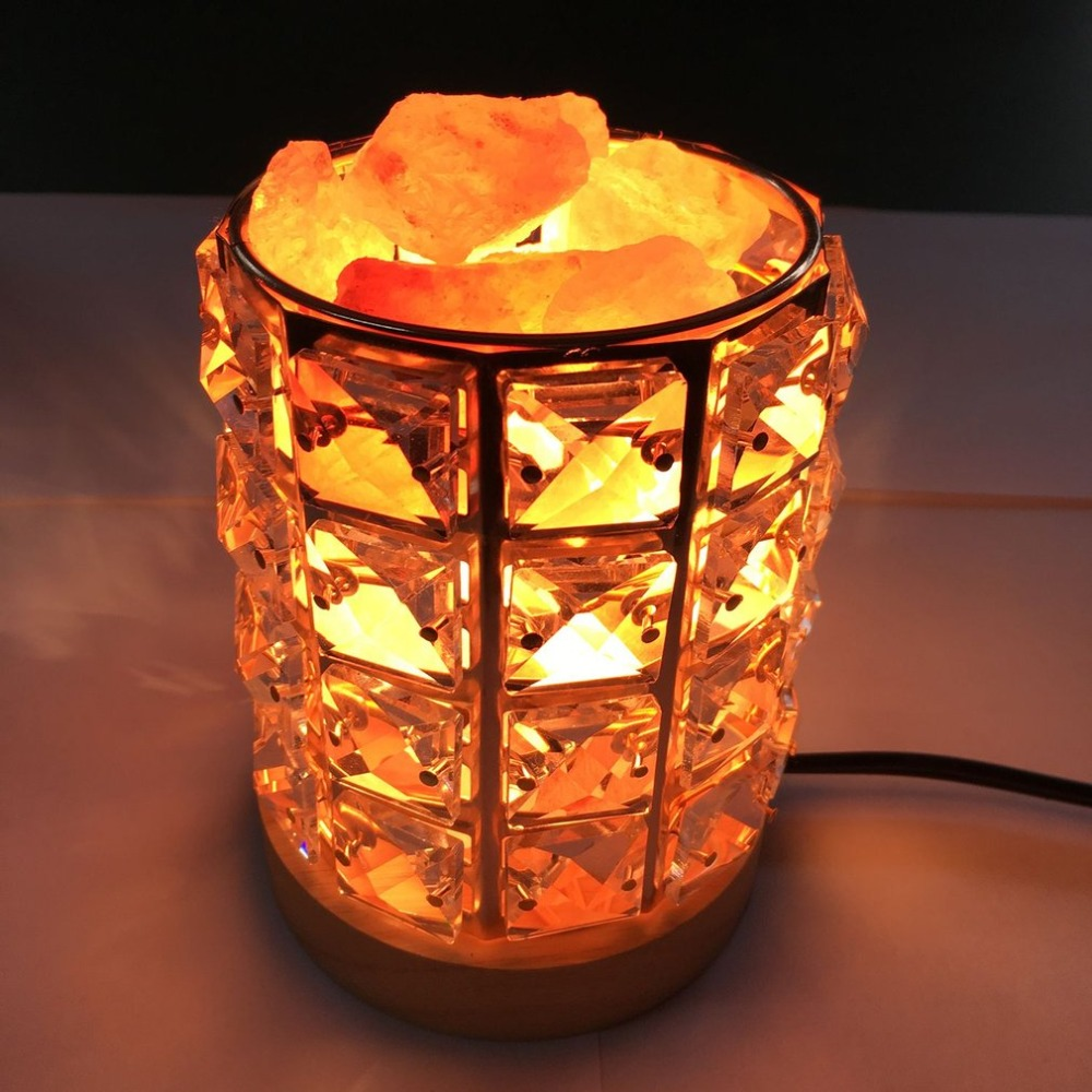 ICOCO Healthy Life Himalayan Natural Crystal Salt Light Air Purifying Himalayan Salt Lamp Atmosphere Light With Wooden Base