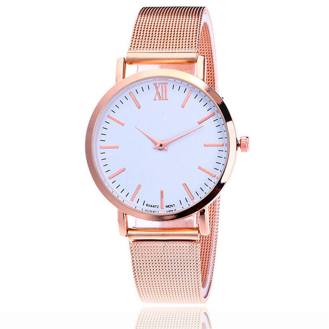 Women's Watches lover Fashion Casual Glass Clock Reloj Rose Gold Stainless Steel