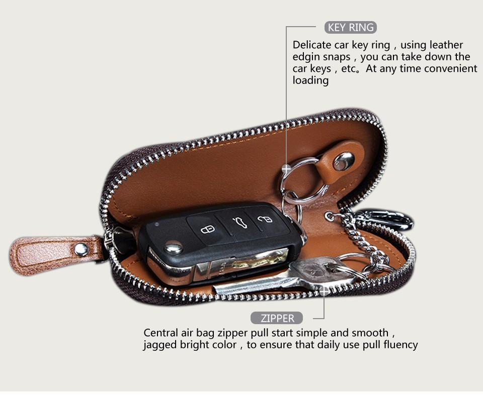 محفظة مفاتيح للرجال من الجلد الطبيعي 6