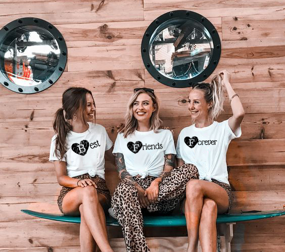 1/pcs Best Frieds Forever Harajuku Tees Women 80s 90s Fashion Grunge T Shirt Best Friend Matching Shirt BFF Friend Gift Tops image