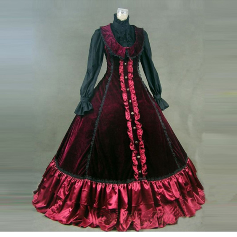 Medieval Retro Wine Red Gothic Victorian Period Party Dress European ...
