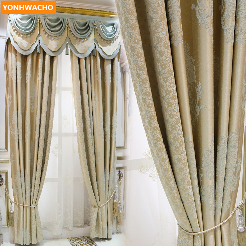 Custom curtains high quality Classic American pastoral luxury upscale jacquard cloth blackout curtain tulle valance drapes N917Custom curtains high quality Classic American pastoral luxury upscale jacquard cloth blackout curtain tulle valance drapes N917