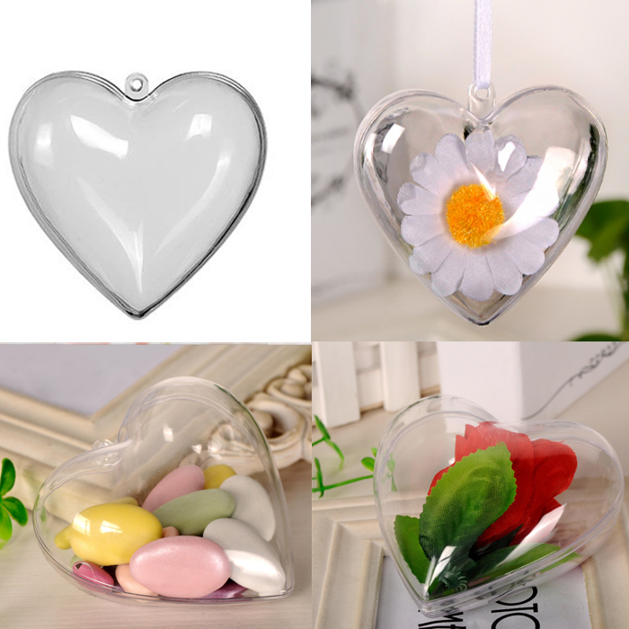 6cm Candy Box Bag Chocolate Gift Clear Heart For Birthday Wedding Party Decoration Craft DIY Favor Baby Shower Wh