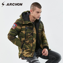 S.ARCHON US RU Soldier Military Parka Jacket Men Winter Warm Thick Camouflage Jacket Coat Hooded Cotton Airsoft Tactical Clothes