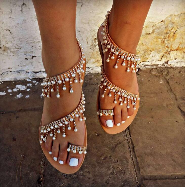 Sandals Shoes Summer Woman Bandage Cool With Flat Shoes Sandals Flip Flops Plue Size 35-43