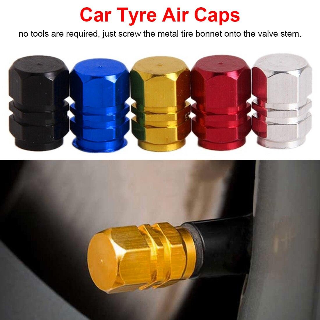 4pcs/Pack Black/Silver/Red/Gold/Blue Car Tire Valve Stem Caps Bolt-in Aluminum Theftproof Valve Caps Car Accessories