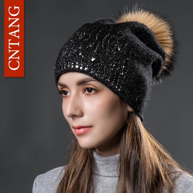 CNTANG Wool Knitted Silver Thread Hats Round Rivet Warm Hat For Women Autumn Winter Fashion Caps With Fur Pompom Ladies Beanies wuhaobo the new arrival of the cashmere knitting wool ladies hat winter warm fashion cap silver flower diamond women caps