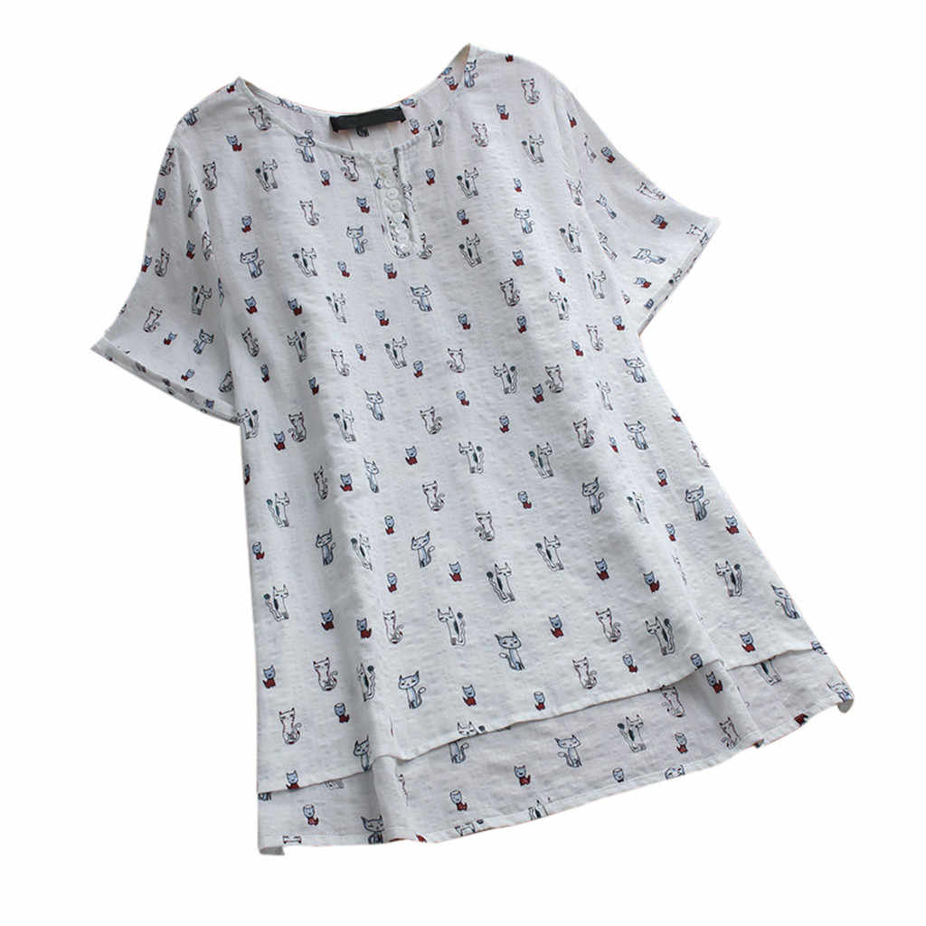 CHAMSGEND Dress Asymmetrical Short Sleeve Dress Women Loose Cat Printing O-Neck Summer Dresses Large Size Vintage Vestido 6JAN18