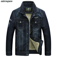 LEDINGSEN 2017 New Warm Denim Jackets Mens Thick Winter Jean Jackets Casual Jacket Coat Turn Down