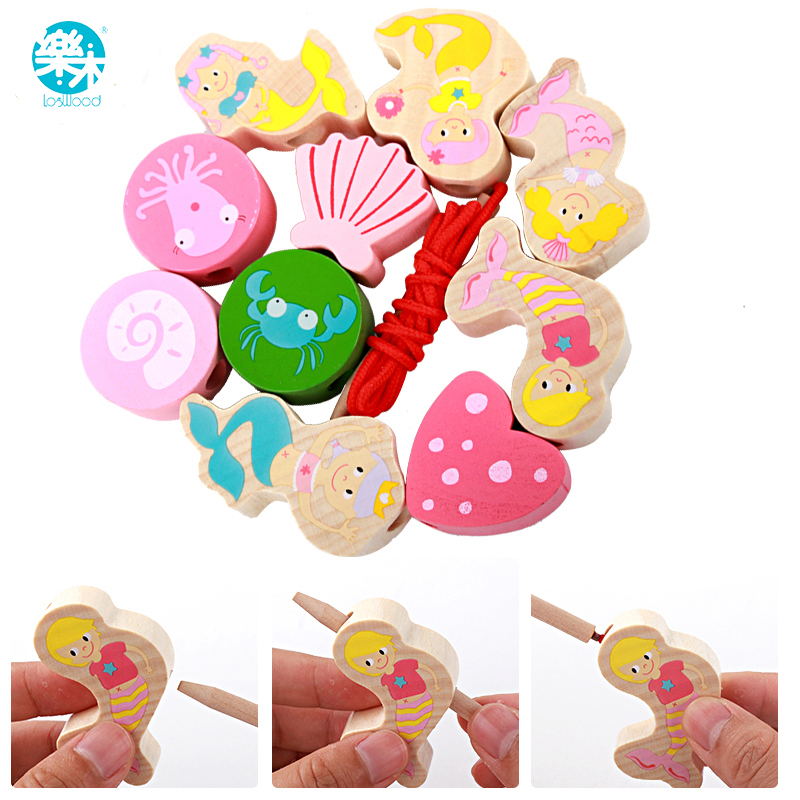 Logwood Wooden Toys Baby DIY Toy Wooden Beads Toys Mermaid Beads Learning And Education For Children Girls Gifts