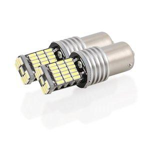 Новые светодиодсветодиодный лампы Canbus без ошибок, 2 шт., 1156 1157, белые, 4014, 45SMD, 12 в постоянного тока, задние фонари s, автомобильный сигнал поворота, светильник п светильник