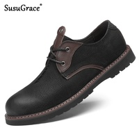 susuGrace real cow leather Luxury Men's fashion brogue Genuine leather dress shoes work shoes Male Quality shoes plus size 48