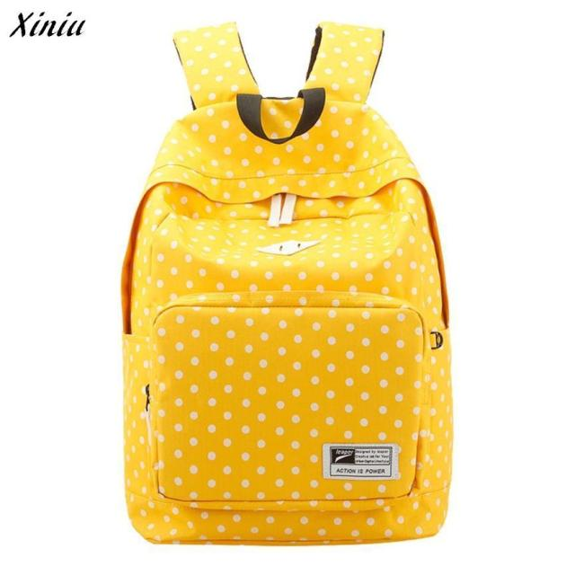 Xiniu Backpack Women Solid Polka Dot Backpack Lightweight Canvas casual mochilas escolares femininas sac a dos#433