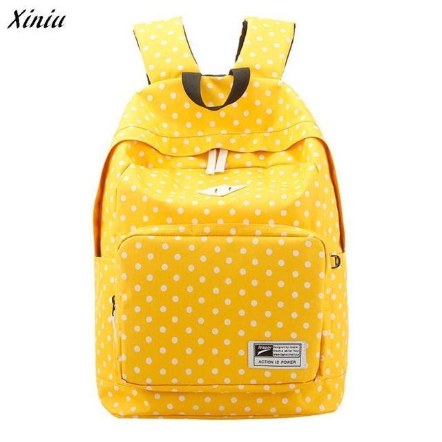 Xiniu Mochila Mulheres Polka Dot Mochila de Lona Leve Sólida casuais mochilas escolares femininas sac a dos #433