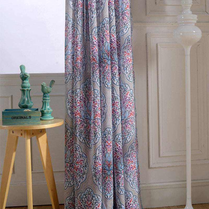 Nordic Pastoral Floral Voile Curtains Linen Feeling White