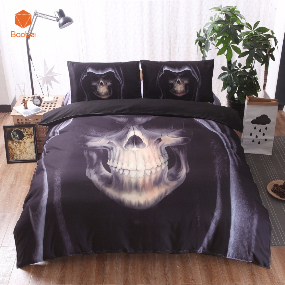 New 3D Black Motorcycle Skull Printed Duvet Cover Set 2/3pcs Single Queen King Bedclothes  Bed Linen Bedding Sets No sheet SJ126New 3D Black Motorcycle Skull Printed Duvet Cover Set 2/3pcs Single Queen King Bedclothes  Bed Linen Bedding Sets No sheet SJ126