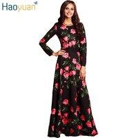 HAOYUAN Plus Size Sexy Retro Maxi Dress Long Sleeve Slim Rose Floral Elegant Party Dresses 2017