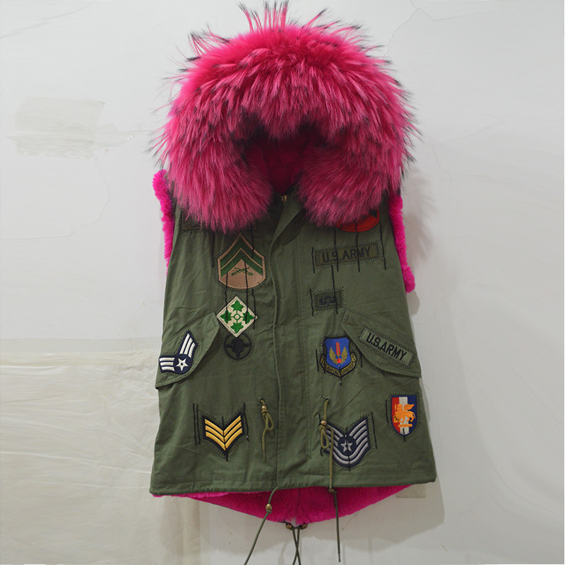 Sleeveless Faux fur lining and real raccoon fur hood vest jacket for women and men