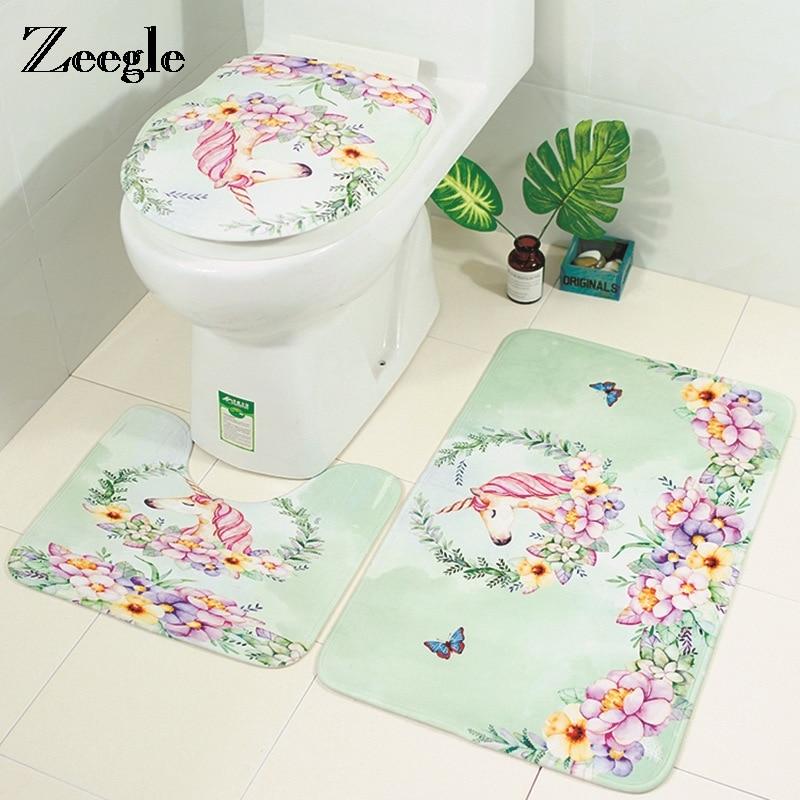 Zeegle Unicorn Mats For Toilet Flannel Absorbent Bath Mat 3Pcs Bathroom Carpet Set Anti-slip Shower Mat Bathroom Rug Doormat