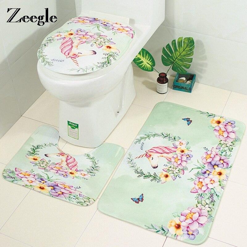 Franela Alfombra de Baño 3 piezas Conjunto de alfombras de baño Tapa de Inodoro Tapa Alfombra Absorbente de Agua