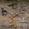 Bronze antigo/ouro/prata/preto parafuso ear clip, ear plug cobre pregos brinco cameo, brincos de base ajuste do parafuso prisioneiro acessórios