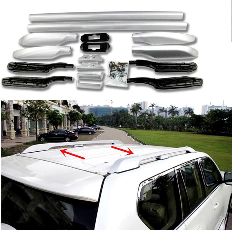 Silver Car Accessories Luggage Carrier Bar Top Roof Rails Rack Bars Fit  For Toyota Land Cruiser Prado FJ150 J150 2010-2018