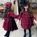 girls wine red color lace princess autumn dress cute flower cotton infant girl dress kids vintage clothes