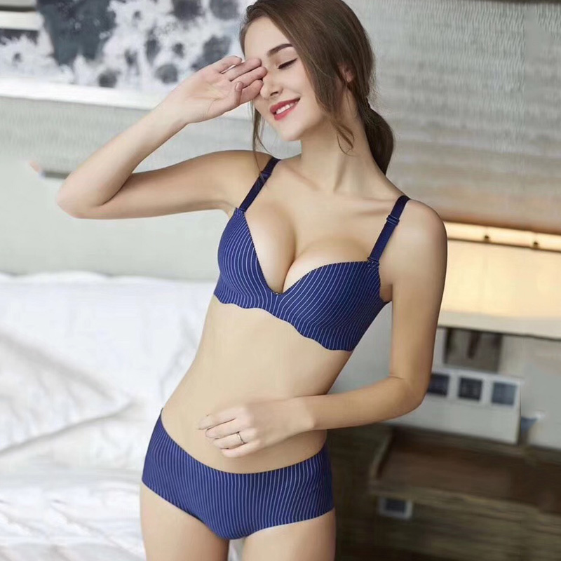 New Sexy Push Up   Bra     Sets   Women's Fashion Striped Underwear   Set   Intimate Noble Young Girl Lingerie   Bra     Brief     Sets