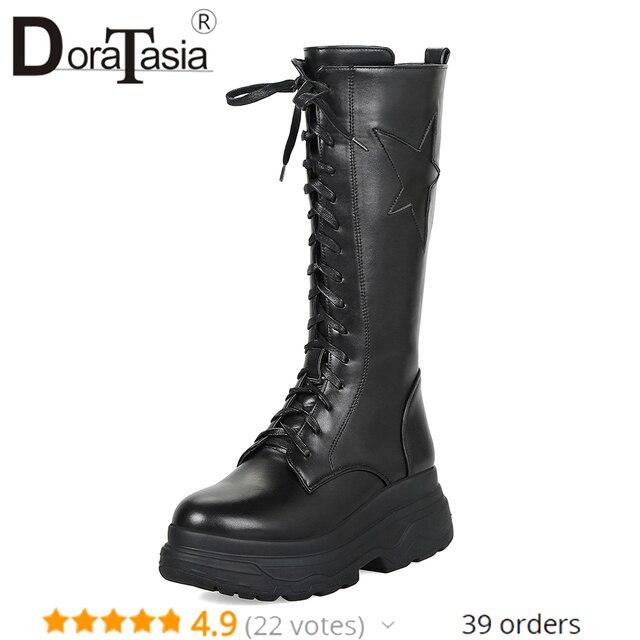 DoraTasia moda duży rozmiar 33-43 połowy łydki platformy buty motocyklowe damskie zimowe 2019 futro lace-up punk wysokie obcasy buty kobieta