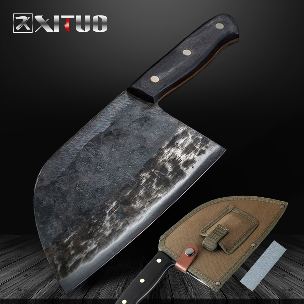 XITUO Handmade Knife Chopping-Tool High-Carbon Forged Nakiri Butcher's Clad-Steel Professional