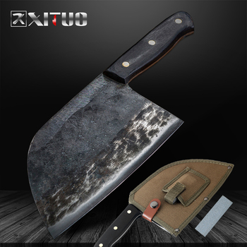 Couteau fait main en acier plaqué à haute teneur en carbone XITUO couteau de Chef forgé outil de coupe couteaux de cuisine professionnels Nakiri Gyuto boucher