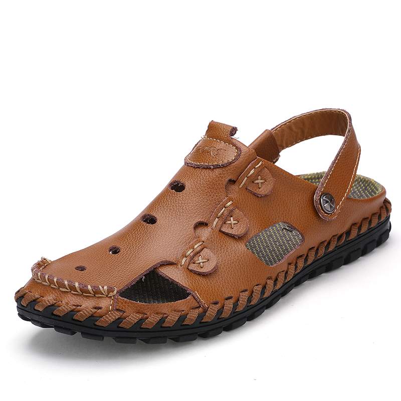 019f16b3f06f KLYWOO 2017 Summer New Men Sandals Genuine Leather Fashion Casual Shoes  Slippers Breathable Beach Sandals Shoes For Men Sildes -in Men s Sandals  from Shoes ...