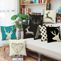 Free shipping good quality linen printing cushion /pillow(not including filling)  heart diamend/horse/deer 45*45cm