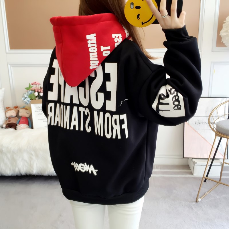 Zuolunouba Autumn Winter Thicken New Casual Letter Girl Pullovers Red Hooded Black Hoodies Women Sweatshirt