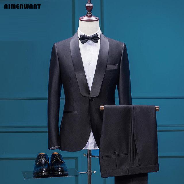 Online Shop AIMENWANT Mens Jacket+Pants Set Custom Made Tuxedo Dress ...