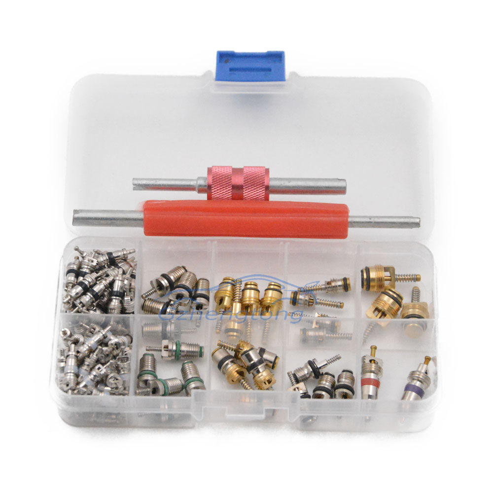 100 pcs Assortment A//C Schrader Valve Core For R134A Kit of 11kinds of vlvs