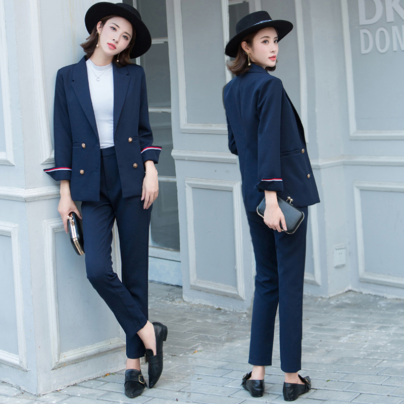 New womens casual suit jacket 2018 fashion casual jacket long-sleeved womens professional womens suit + pants 2 pieces / sets