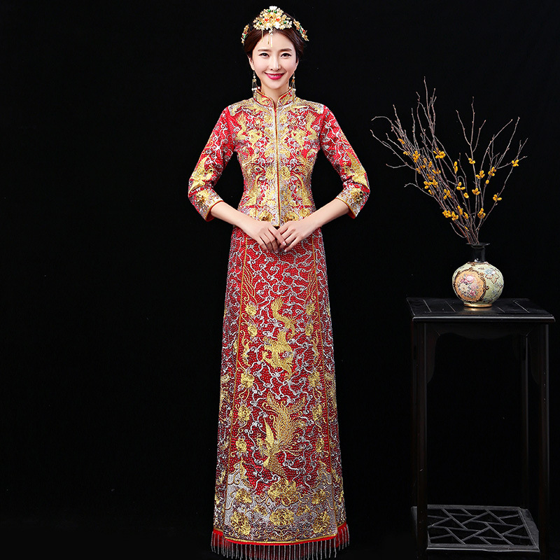 Traditional Wedding Gowns With Long Sleeves: Long Sleeve Chinese Traditional Wedding Dress Women