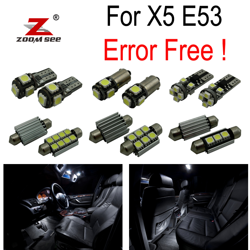 20pc X 100% Canbus No Error LED Lamp Interior dome map Light Kit Package for BMW X5 E53 (2000-2007) xenon white 1 50 36mm 6418 c5w canbus led bulbs error free for audi bmw mercedes porsche vw interior map or dome lights