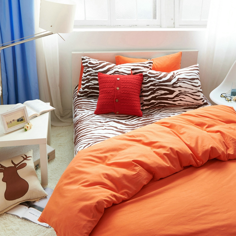 Orange Blue Bedding Set King Size Queen Twin Solid Quilt
