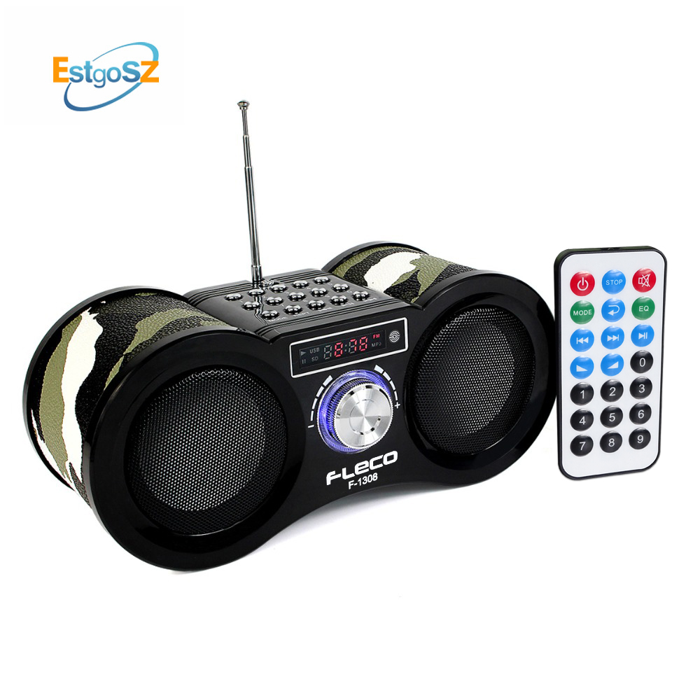 EStgoSZ V-113 FM Radio fleco Stereo Digital Radio Receiver Speaker USB Disk TF Card MP3 Music Player + Remote Control F1308 tivdio v 116 fm mw sw dsp shortwave transistor radio receiver multiband mp3 player sleep timer alarm clock f9206a