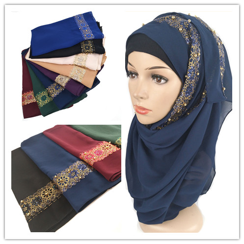 H4  High Quality Lace Pearl Bubble Chifffon Hijab  Lady Shawls  Women Scarf Scarves 180*75cm Can Choose Colors