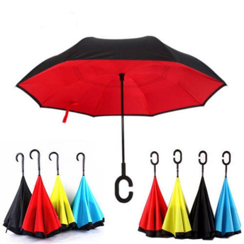 Männer Frauen Business Stil Automatische Öffnen Invertiert Reverse Auto Regenschirm Winddicht Doppel-schichten Reverse Öffnung Regenschirm