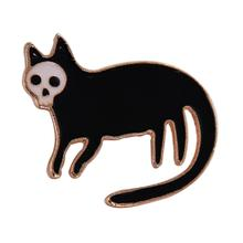 imixlot New Cartoon Black Cat With Animal Pin Hard Enamel Brooches Badges Lapel pin For Kids Girls Gifts