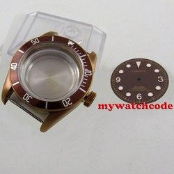 41mm szafirowe szkło kawy zegarek Case + dial fit eta 2824 2836 ruch C105