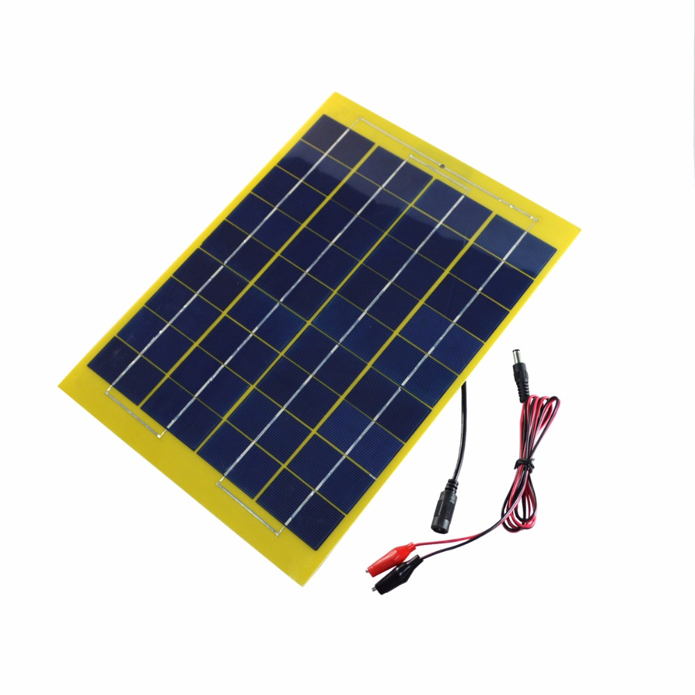 ELEGEEK 10W 18V Solar Panel DC Output Polycrystalline Solar Panel with Alligator Clips for 12V Solar System and 12V Battery image