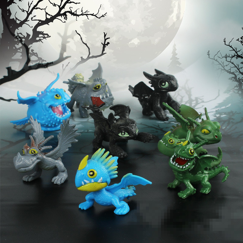 8 pcs/set Juguetes How To Train Your Dragon 2 Toys Movie Night Fury Toothless Figurines Toothless Action Figure Kids Gifts 20cm large pvc figure how to train your dragon 2 night fury animiation toys doll retails cartoon model child gift