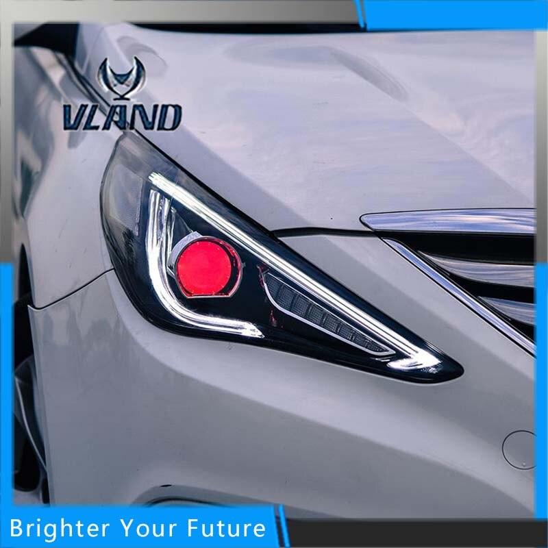Date 2 Pcs Phare Fit Pour Hyundai Sonata 2010-2014 Halo Tête Lampe avec H7 Ange Eye Bi-xénon Projecteur