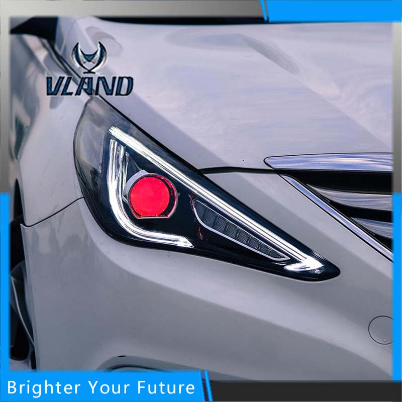 Newest 2Pcs Headlight Fit For Hyundai Sonata 2010-2014 Halo Head Lamp with H7 Angel Eye Bi-xenon Projector