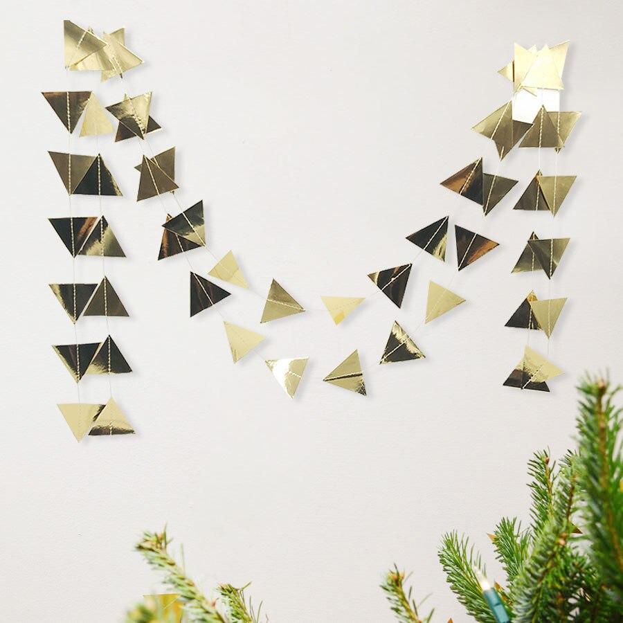 Nicro 3M trekëndëshat e artë Garland Garland Krishtlindjeve Wall - Furnizimet e partisë - Foto 3